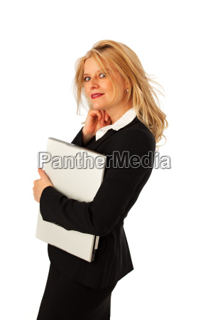business woman with a notebook isolated