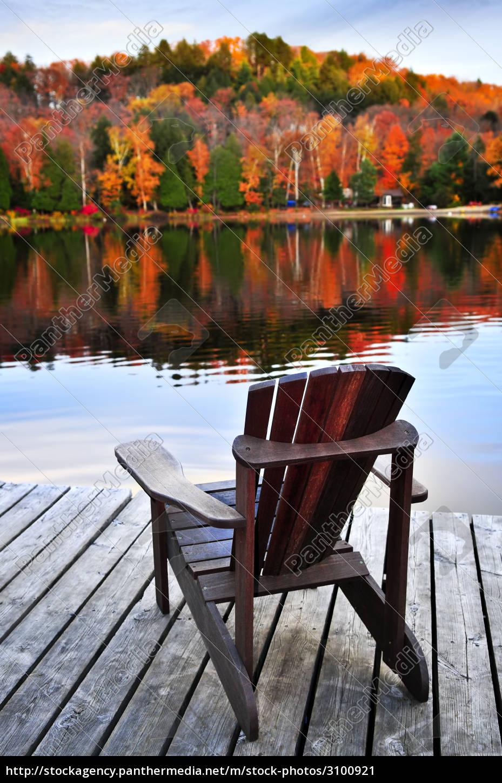 wooden, dock, on, autumn, lake - 3100921