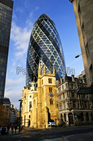 gherkin building and church of st