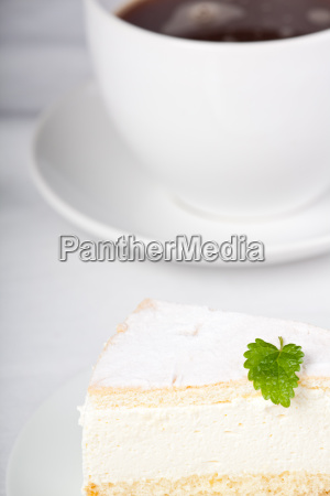 lemon balm on a cream pie