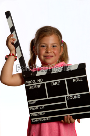 young, girl, holding, a, clapperboard - 3110239