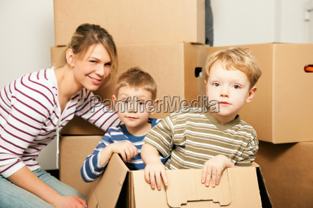 family moves into their new house