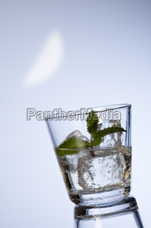 mineral water with ice cubes and