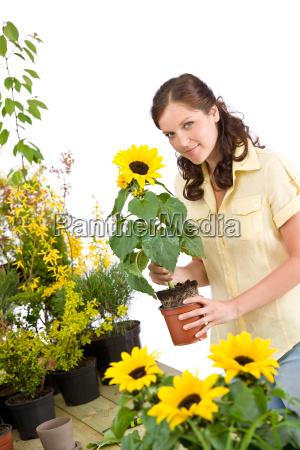 gardening, -, , woman, holding, flower - 3122121