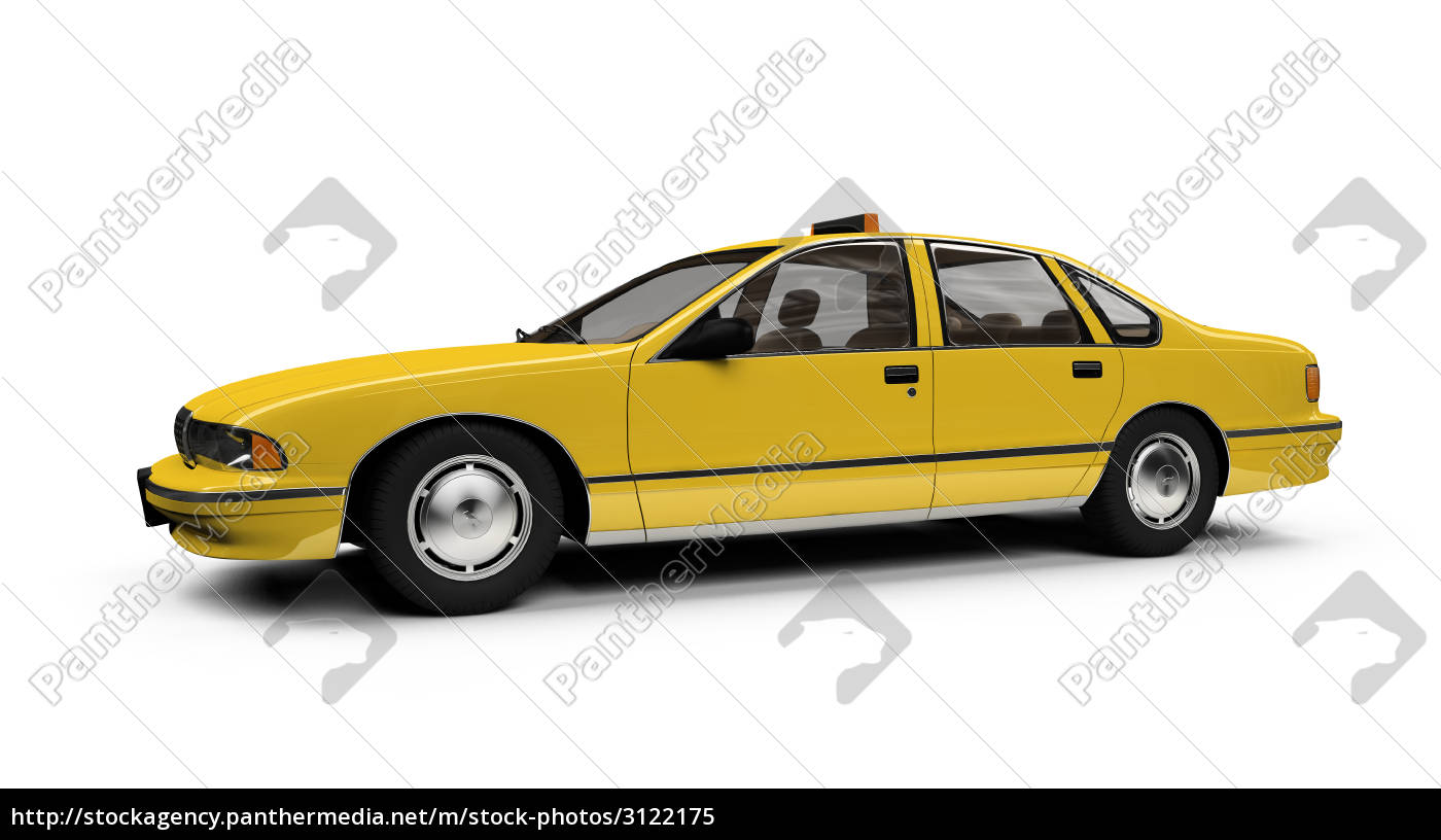 yellow, taxi, isolated, over, whie - 3122175