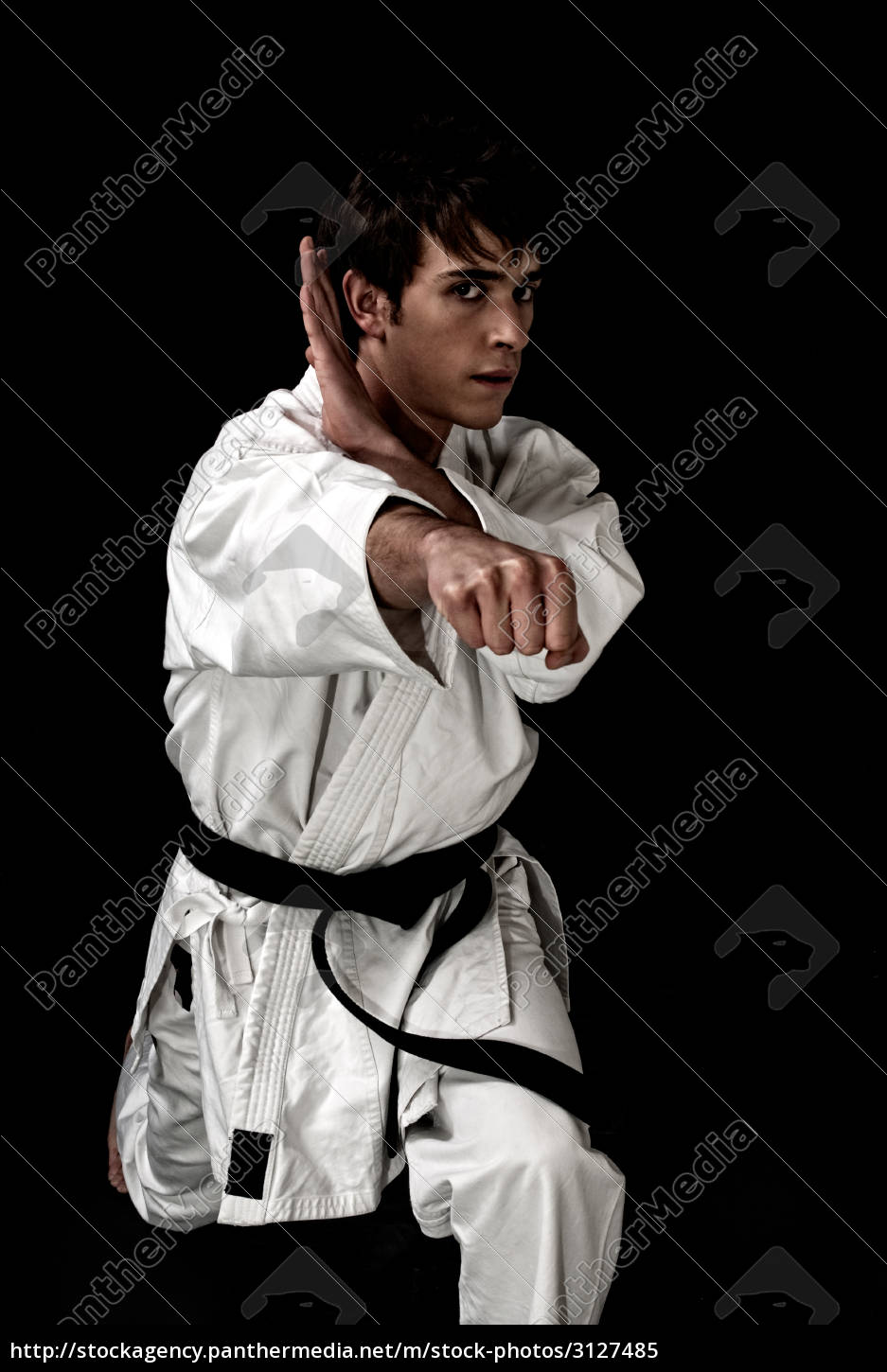 high, contrast, karate, young, male, fighter - 3127485