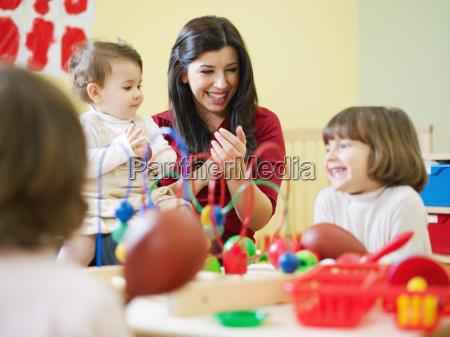 three, little, girls, and, female, teacher - 3130669