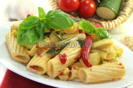 tortiglione with fiery chili and zucchini