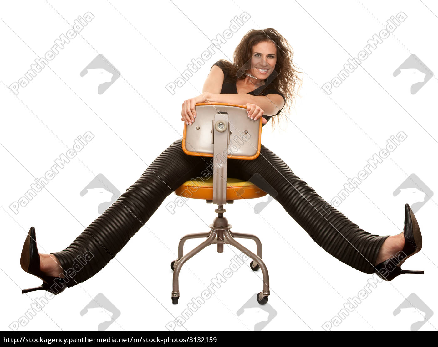pretty, woman, in, black, seated, on - 3132159