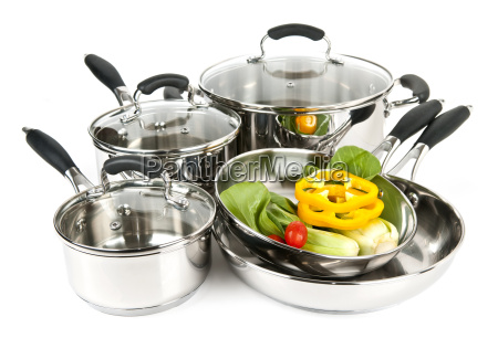 stainless steel pots and pans with