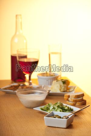 antipasti misti on a wooden table
