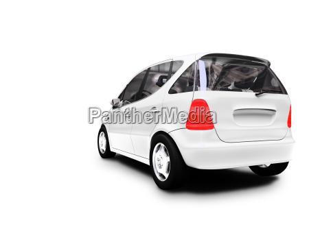 mini white car back view