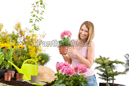gardening, -, happy, woman, holding, flower - 3146195