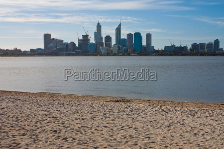 perth skyline with beach