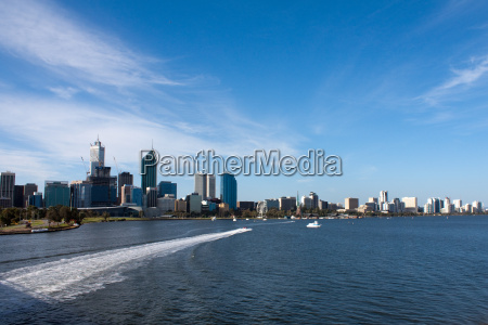 perth skyline with motorboat