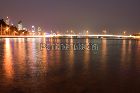 perth skyline at night with bridge