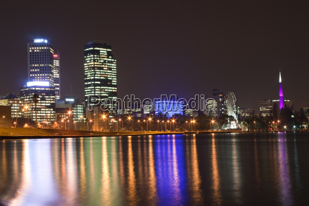 perth skyline at night with belltower