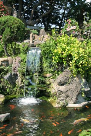 park, garden, waterfall, chinese, fresh water, pond - 3148317