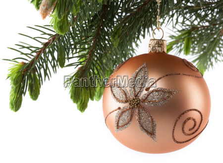 branch, christmas ball, ball, christmas tree ball, christmas tree decorations, gold - 3154063