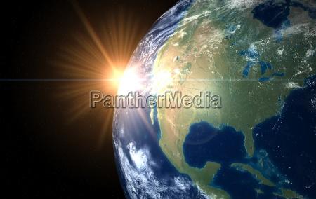 earth, and, sun., space, sunrise, america - 3156821