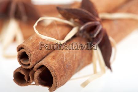 detail of cinnamon sticks on white