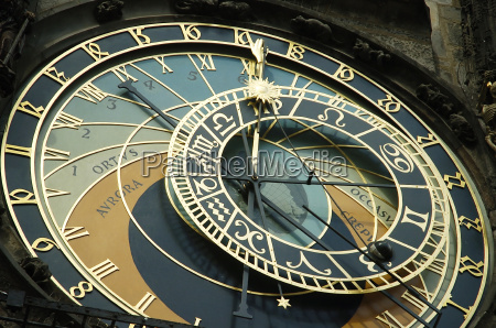 old wall clock with moon and
