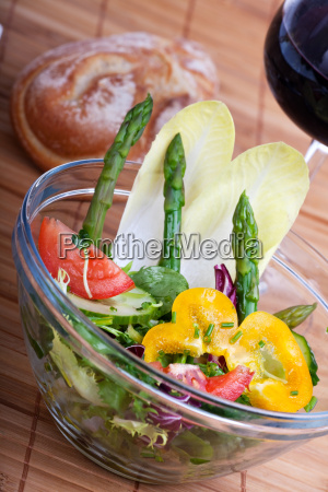 fresh salad with green asparagus
