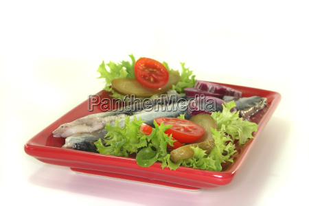 cucumber onion herring snack tomato salad