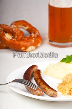 bratwurstmustard and sauerkraut