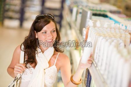 shopping cosmetics smiling woman choose