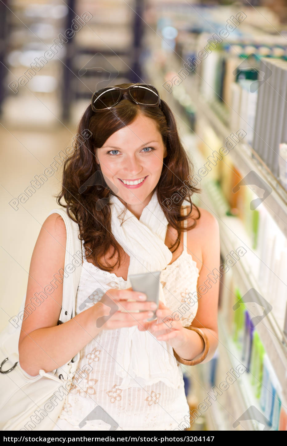shopping, cosmetics, -, smiling, woman, with - 3204147