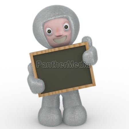 3d kid with blackboard