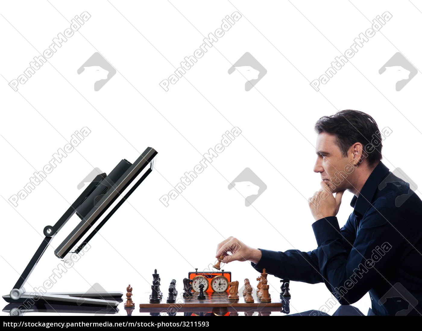 man, playing, chess, with, computer - 3211593