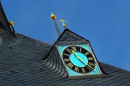 nostalgic clock on the slate roof