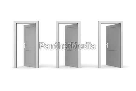 three grey open doors