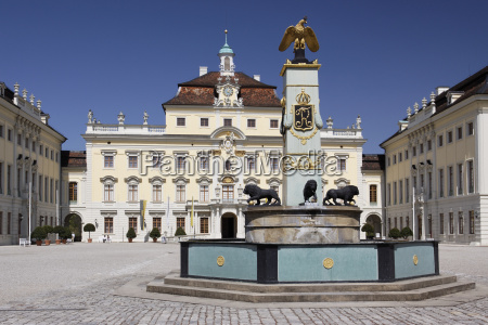 ludwigsburg palace courtyard with fountain
