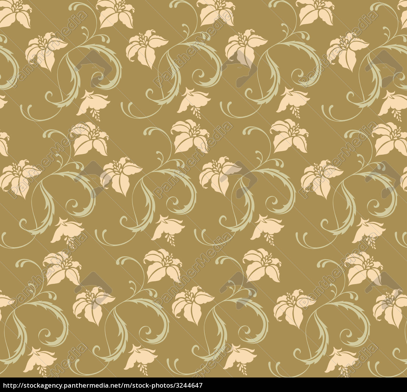 seamless, leaves, and, flower, pattern - 3244647