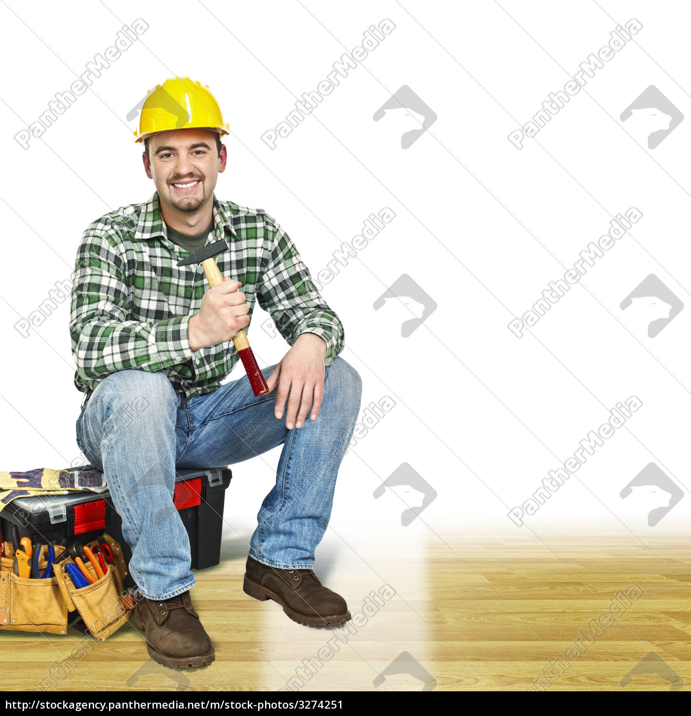 young, handyman, sit, on, toolbox - 3274251
