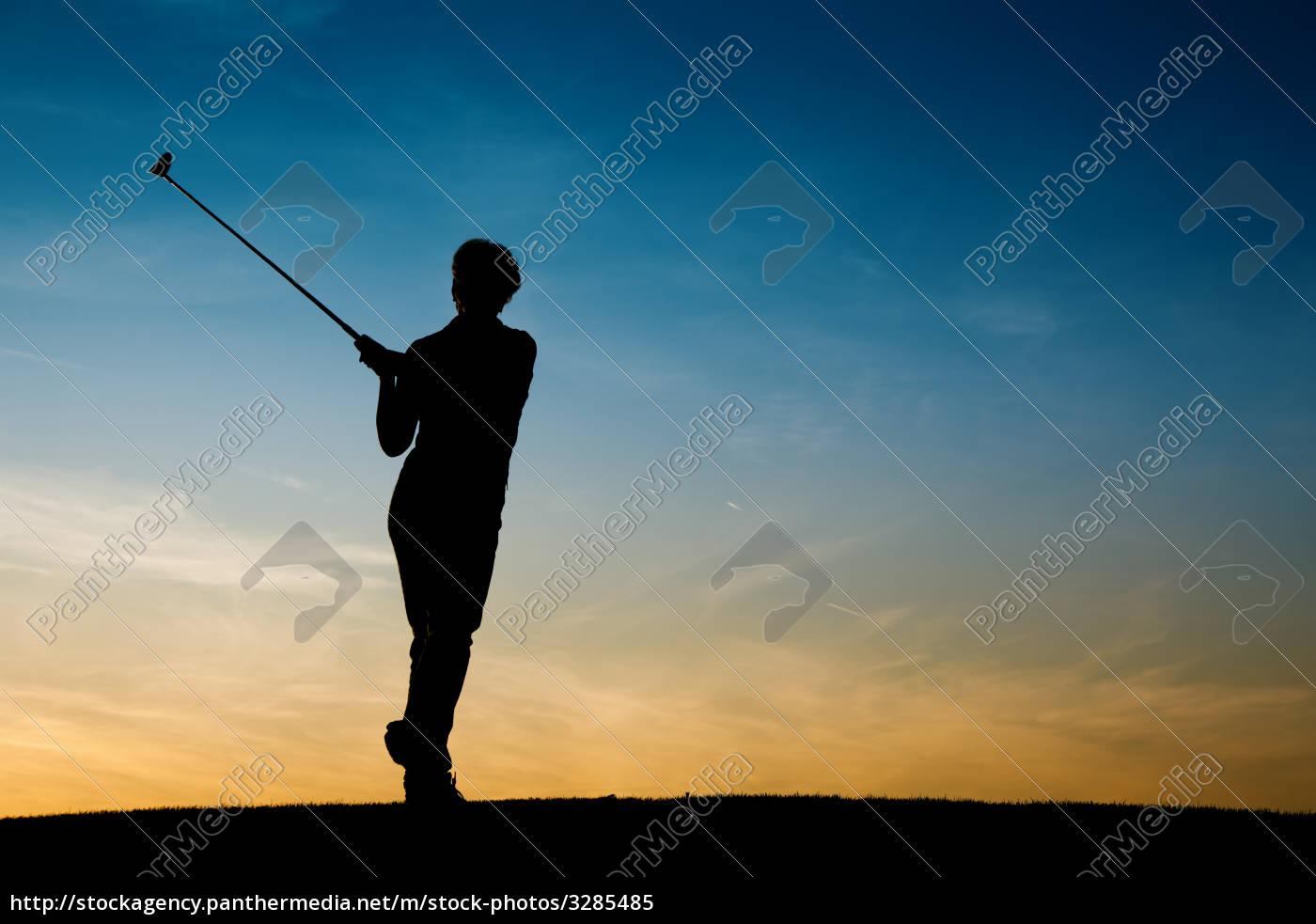senior, golfer, silhouetted - 3285485