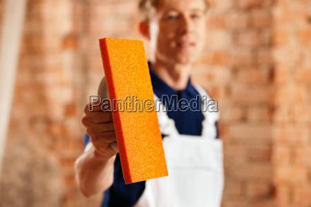 maurer, with, plaster, grater - 3290291