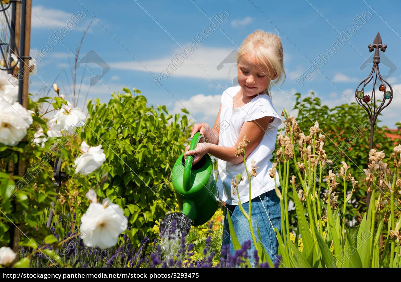 little, girl, pours, flowers - 3293475