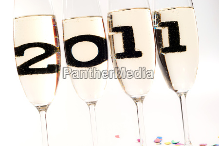 champagne glasses with sparkling wine in