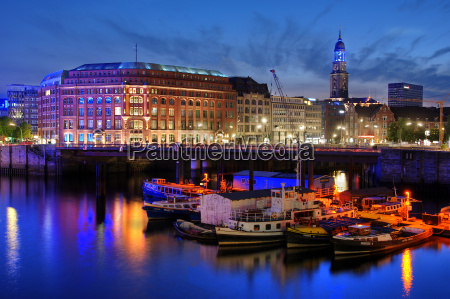 hamburg river port in blue light