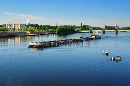 tugboats and anglers on havel berlin