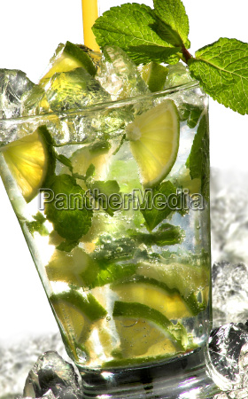 mojito on white background and ice