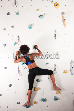 woman in climbing gym