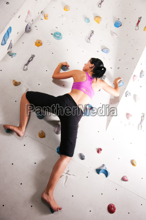 woman in the climbing hall