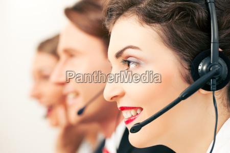 call center team during a call