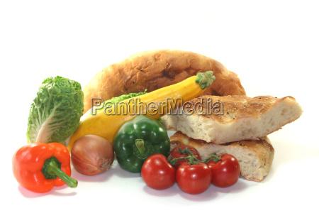 mediterranean vegetables with pita bread
