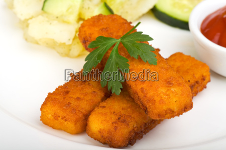 fish, sticks, and, potato, salad - 3394047